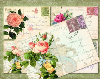 4 Romantic Floral Postcards BaCKGRouND PaPeRs ViNTaGe DiGiTaL CoLLaGe sHeeT aLTeReD HaNg TaGs BooK JouRNaL SCRaPBooKiNg SuPPLieS