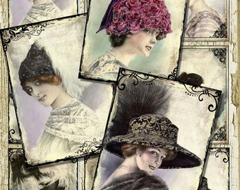 Set of 9 Beautiful Gibson Girls ATC BaCKGRouND PaPeRs ViNTaGe aNTiQUe DiGiTaL CoLLaGe sHeeT aLTeReD HaNg TaGs BooK SCRaPBooKiNg SuPPLieS