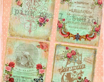 PHOTOGRAPHER'S ATELIER 4 Designs for PosTCaRds BaCKGRouNd PaPeRs ViNTaGe DiGiTaL CoLLaGe sHeeT aLTeReD HaNg TaGs BooK JouRNaL SCRaPBooKiNg