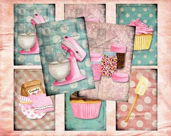 Set of 6 AGeD GRuNGe sHaBBY CupCAKe baKEry BaCKGRouND PaPeRs ViNTaGe aNTiQUe DiGiTaL CoLLaGe sHeeT aLTeReD HaNg TaGs BooK JouRNaL