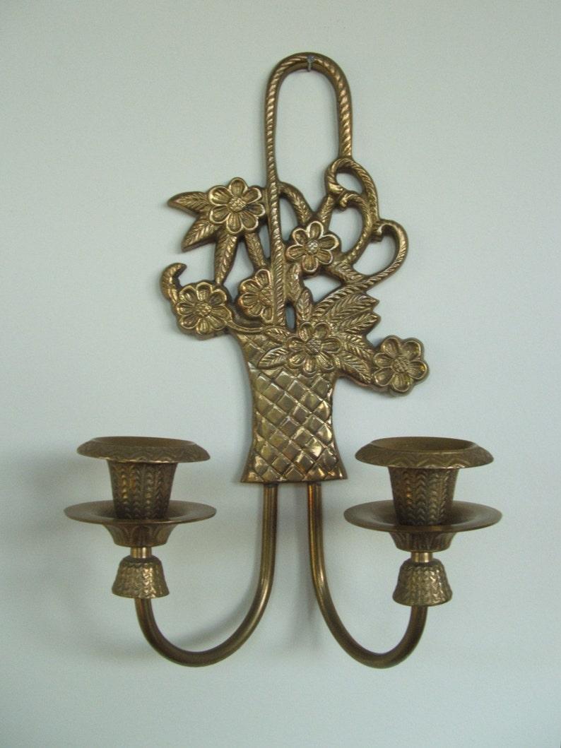 Brass Flower Basket Sconce