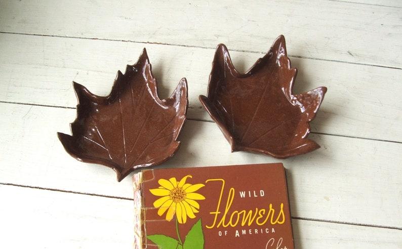 Pair of Vintage Handmade Pottery Brown Maple Leaves