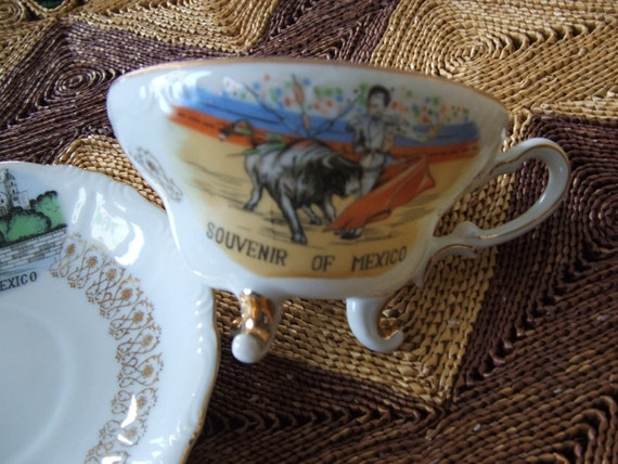 Vintage Souvenir Of Mexico Cup And Saucer Etsy
