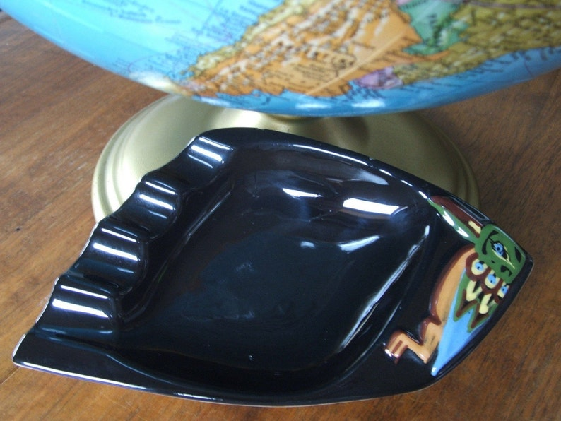 West Coast Indian Art Pottery Ash Tray ~Raven~ BC Ceramics Canada signed Herta Gerz