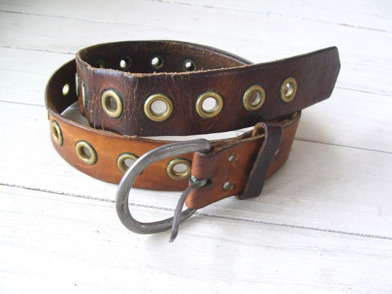 Vintage 100/% Cotton Faced Non Leather Belt~Made In China~Brass Buckle and Rivet Holes~.5Wide~42.5Long