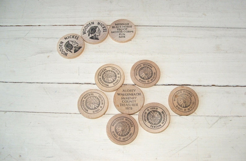 10 Vintage Wooden Nickels Advertising Political Campaign