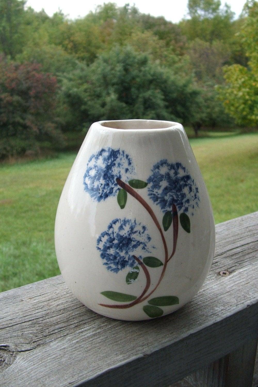 Vintage Ceramic Vase With Sponge Painted Blue Flowers Etsy