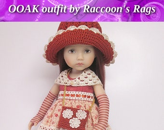 """OOAK  outfit for Effner 10.5"""" Boneka Monday's Child.  Complete outfit, dress, hat, petticoat, stockings & accessories set.  Raccoons Rags."""