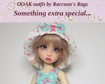 "OOAK  handmade set for Kaye Wiggs dolls.  ""Crisp Aqua"" outfit.  Fits  MSD  18"" (45cm) body AND Mei Mei 17"" (43cm)  8 pieces, includes bear."