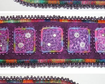 """FABRIC ART CUFF Bracelet: """"Indian Splendour"""" art piece appliqued and embroidered with beads.  Medium to large. Handmade."""