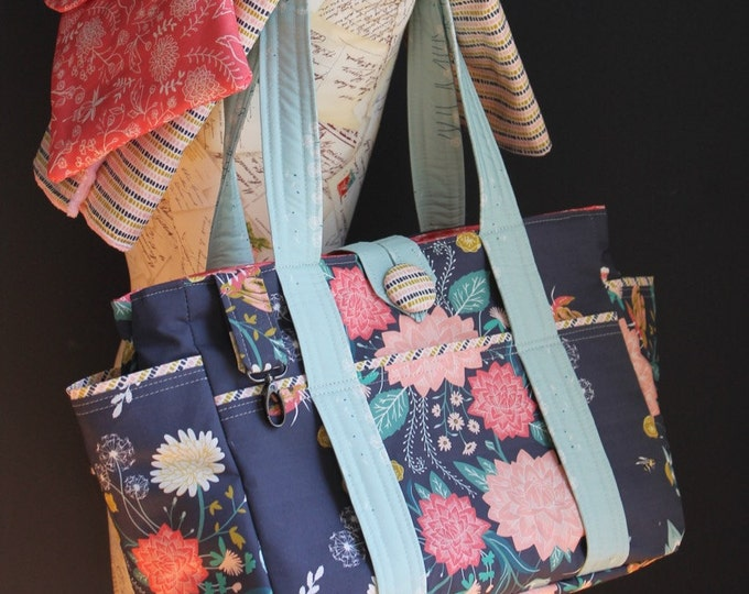 Navy Blue Coral and Pink Floral Flowers Birds Bees Watermelon Wishes Custom Diaper Bag Set