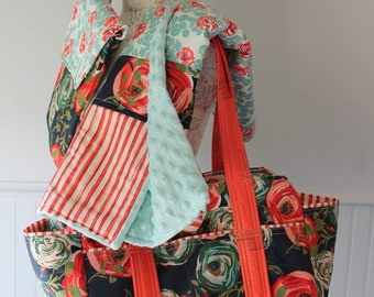 Navy Blue Coral Roses Floral Flowers Watermelon Wishes Custom Diaper Bag Set