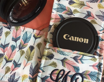 Camera Strap Cover with Lens Cap Pocket Custom Made to Order with Monogram DSLR Digital Photography Photographer Unique Personalized Gift