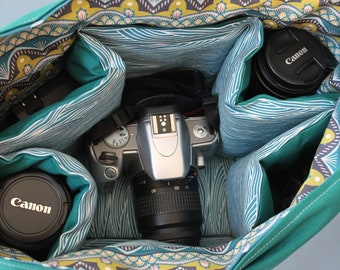 Large Padded Messenger Style Camera and Multi Lens Bag with Camera Strap Cover and Adjustable Strap--- Custom made to order