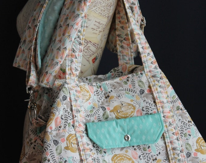 Custom Large Diaper Bag Baby Triplets Twins by Watermelon Wishes Feathers and Baby Deer
