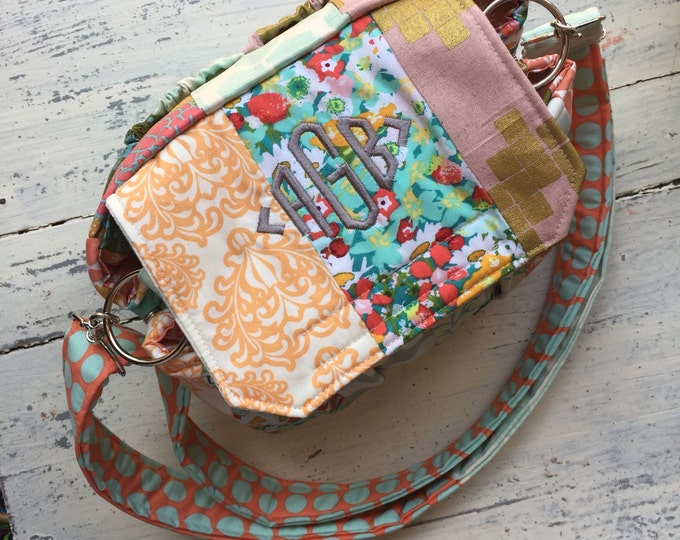 Custom made to oder with Monogram Medium Padded Modern Patchwork Camera Bag by Watermelon Wishes