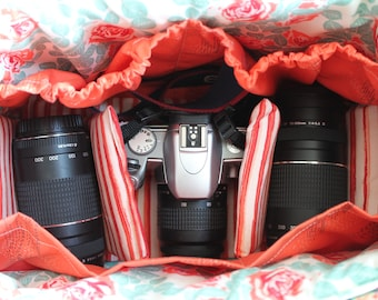 Large Camera Bag Set Custom Made to Order with Removable Interior Pads and Camera Strap Cover with Lens Cap Pocket