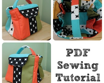 Travel Cosmetic Organizer Tote Bag Sewing Tutorial PDF How to Make