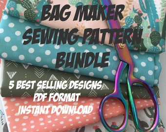 Bag Making PDF Sewing Pattern Bundle --- Includes 5 PDF Tutorials with Instant Download --- Limited time offer