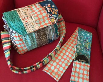Custom Made to Order Medium Padded Modern Patchwork Camera Bag with Camera Strap Cover and Padded Divider  by Watermelon Wishes