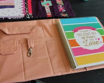 Full Size 7 Pocket Fabric Portfolio 8.5 x 11 Note Pad iPad iPhone Organizer Feathers