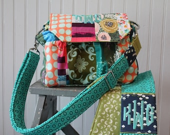 Medium Padded Modern Patchwork Camera Bag with Camera Strap Cover and Padded Divider  by Watermelon Wishes