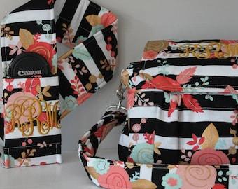Black and White Stripe Rose Medium Padded Camera Bag with Southern Monogram