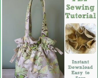 Sewing Tutorial PDF Drawstring Shoulder Bag Purse Tote 6 Pockets