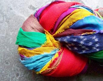 Recycled Sari Ribbon, Silk Sari Ribbon, Reclaimed, Recycled Silk Sari Ribbon, Multi Colored, Printed Ribbon, Prayer Flag, 4 Yards