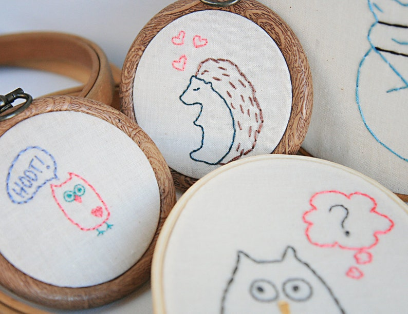 Forest Critters PDF Hand Embroidery Pattern image 0