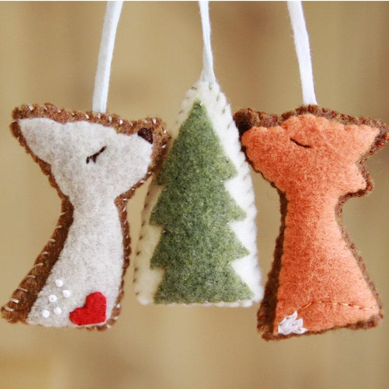 Felt Fox Deer Woodland Trio Felt Ornaments Home Decor image 0