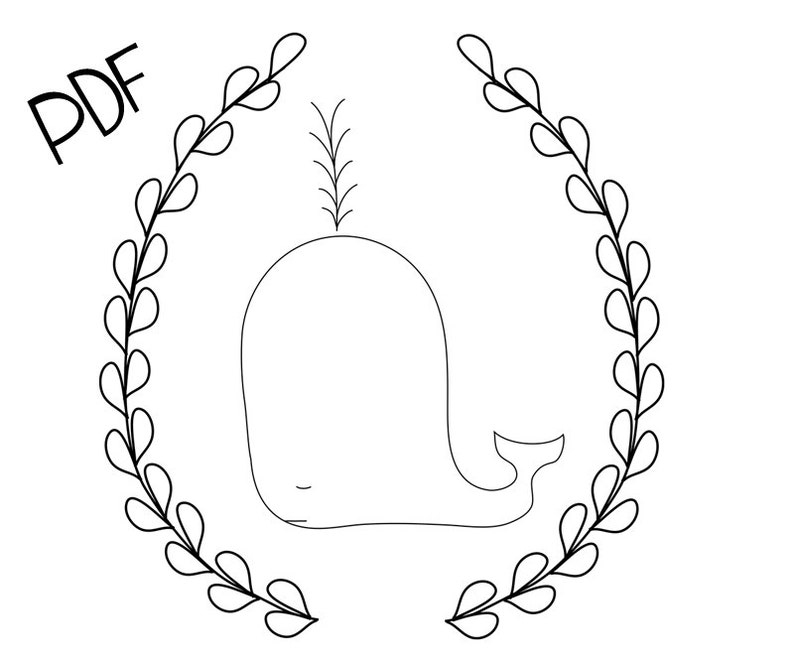 Fancy Whale PDF Hand Embroidery Pattern image 0
