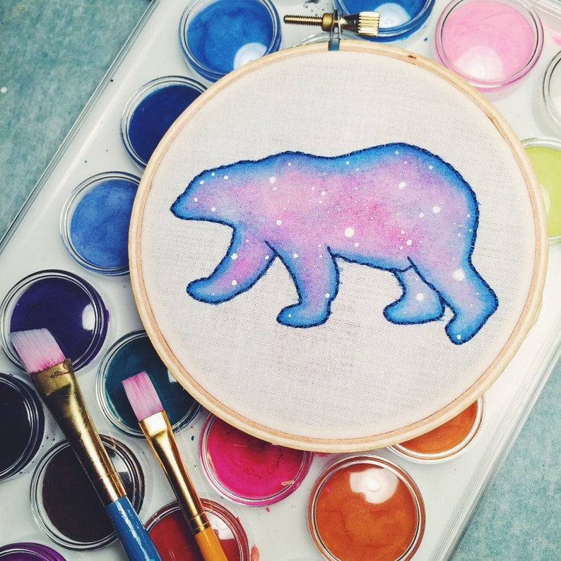 Galaxy Bear Embroidery Hoop Art Nebula Watercolor Polar Bear image 0