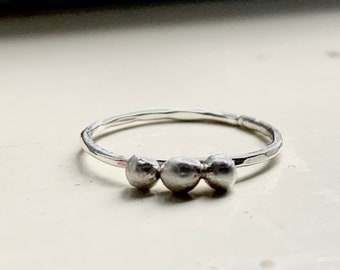 Triple Nugget Sterling Silver Stacking Ring