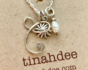 Silver Initial Necklace with Charm and Freshwater Pearl