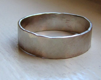 Rustic White Gold Wedding Band