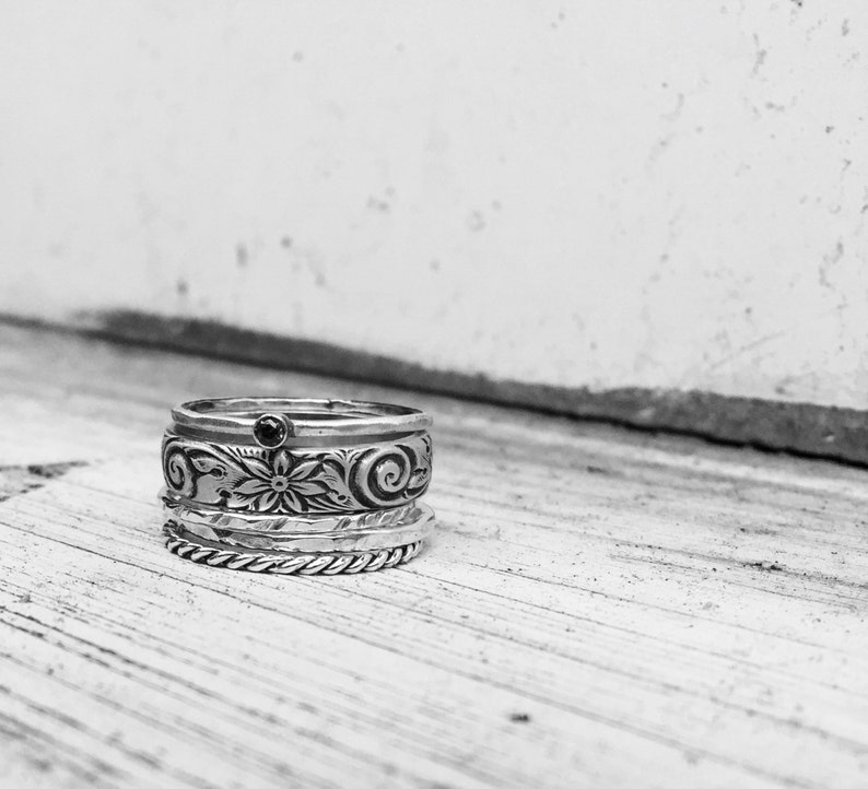Sterling Silver Stacking Rings With Birthstone in solid gold image 0