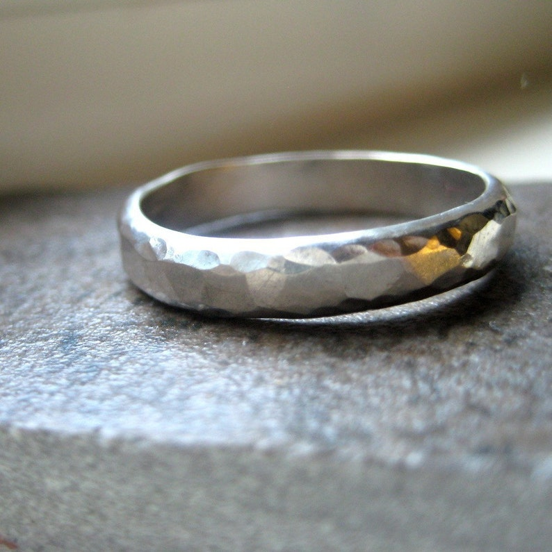 Mens Wedding Ring of Hammered Sterling Silver image 0