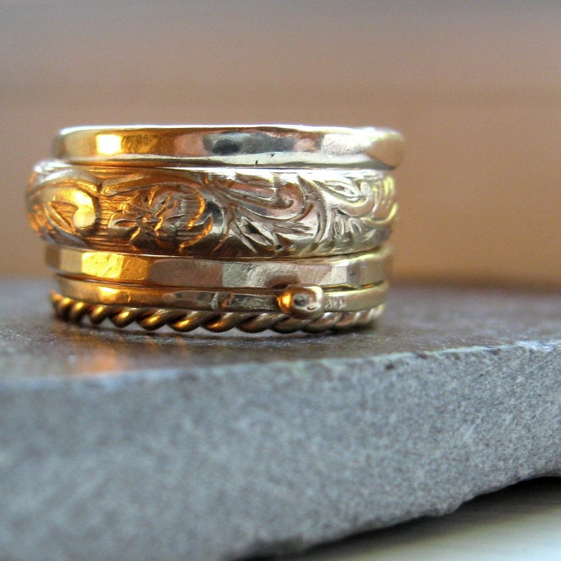 Five Gold Stacking Rings image 0