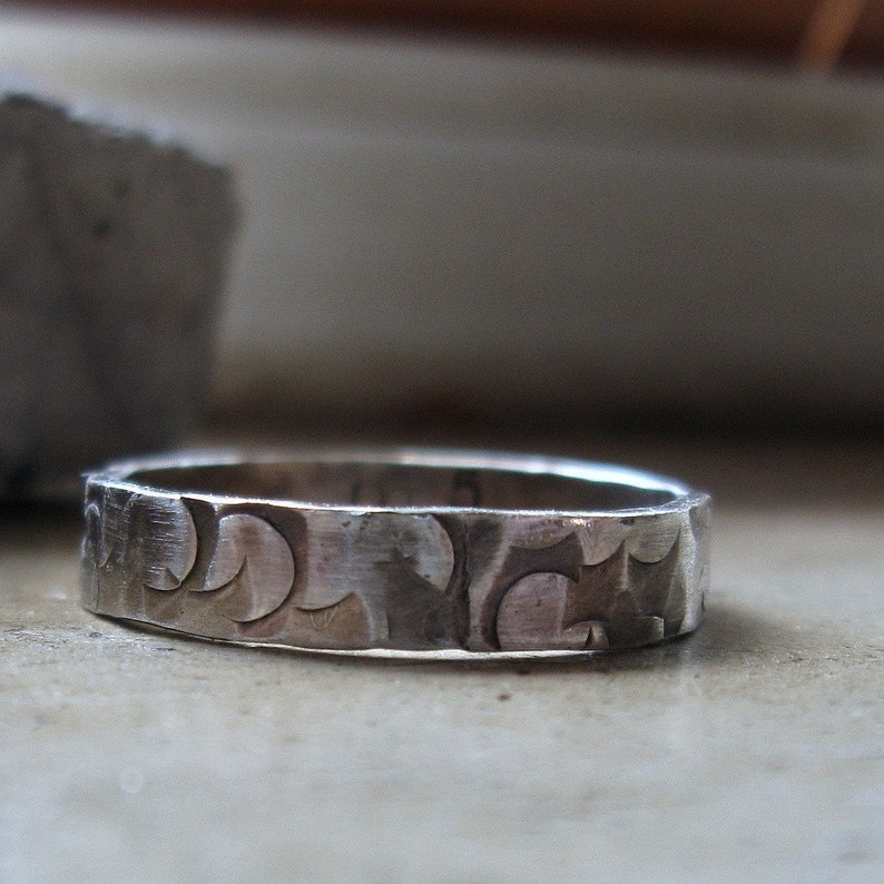 Handmade distressed narrow sterling silver band ring for men image 0