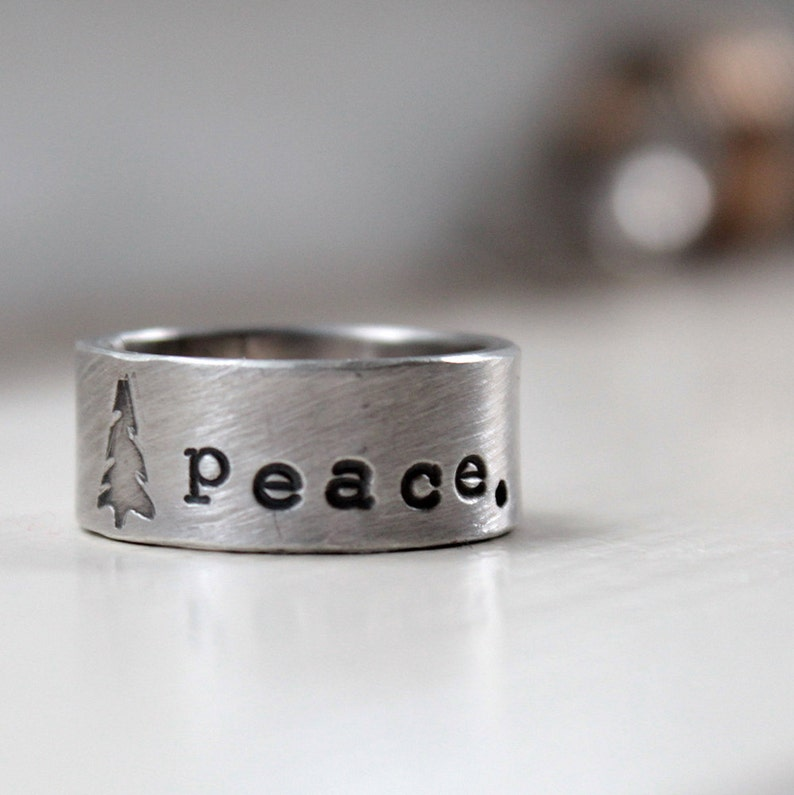 Christmas Tree Peace Ring of Sterling Silver image 0