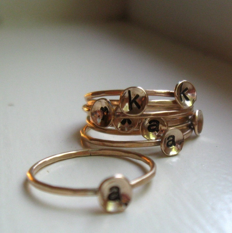 Stackable Gold Initial Ring image 0