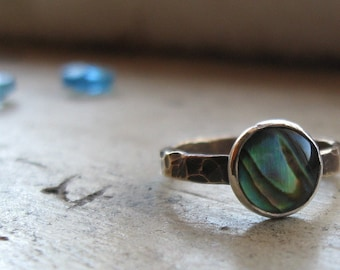 Brass and Abalone Ring