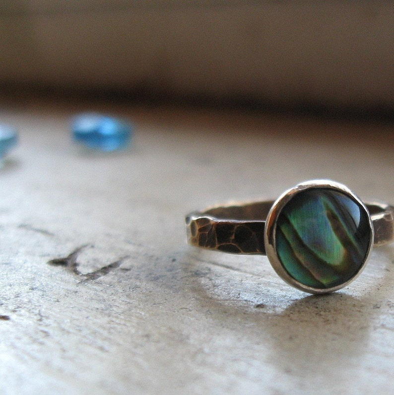 Handmade brass and abalone stackable ring image 0
