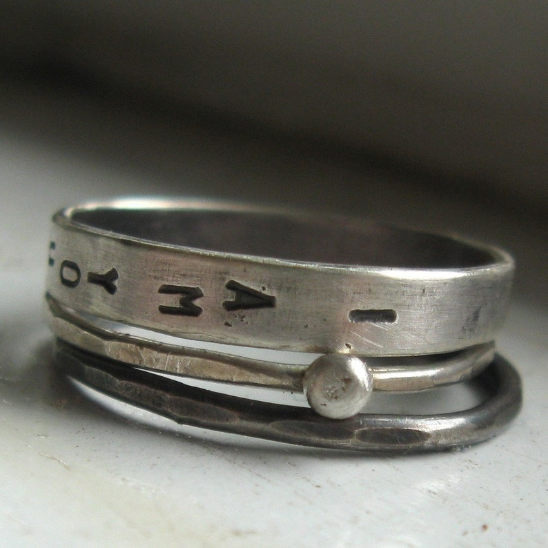 Sterling silver wedding set personalized stacking rings image 0