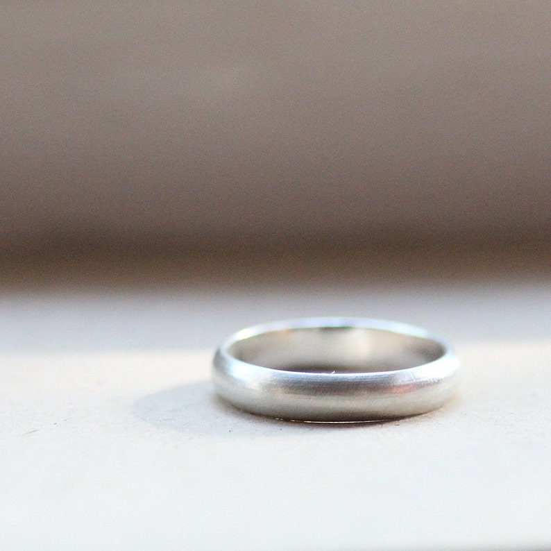 Rustic Unisex Wedding Band of Brushed Sterling Silver image 0