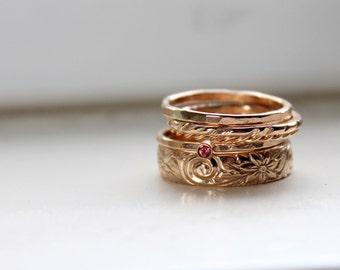 Gold Stacking Rings  - Birthstone Stacking Rings