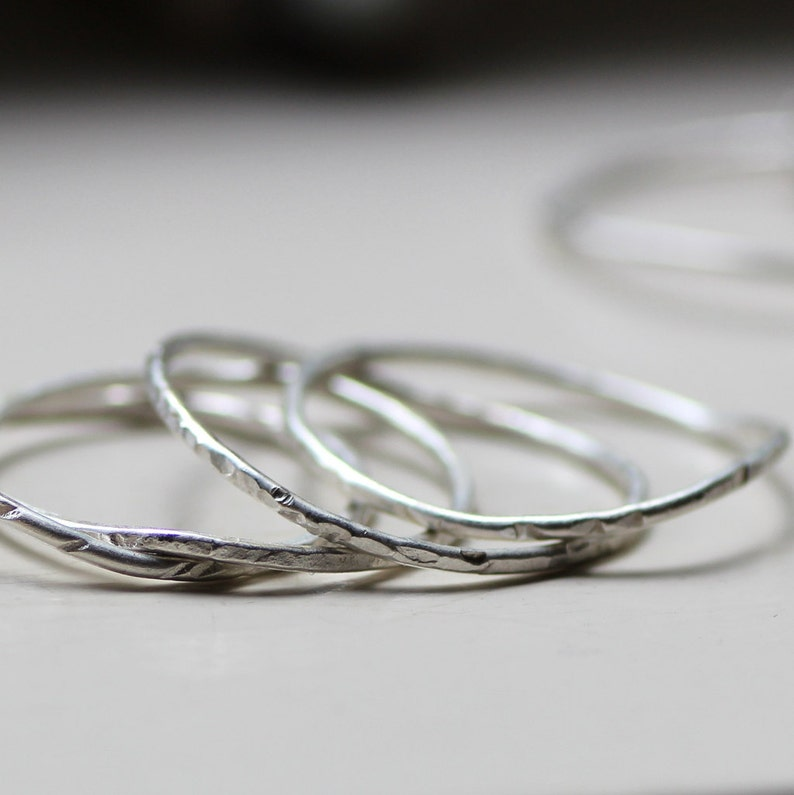 Curvy Silver Stacking Rings image 0