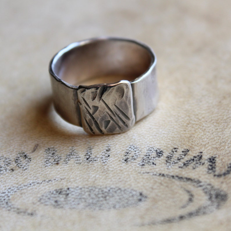 Mens ring of rugged sterling silver image 0