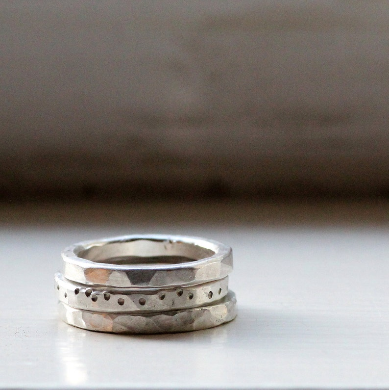 Chunky Rustic Sterling Stacking Rings image 0